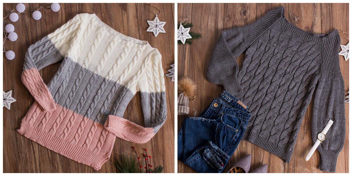 swetry z warkoczem