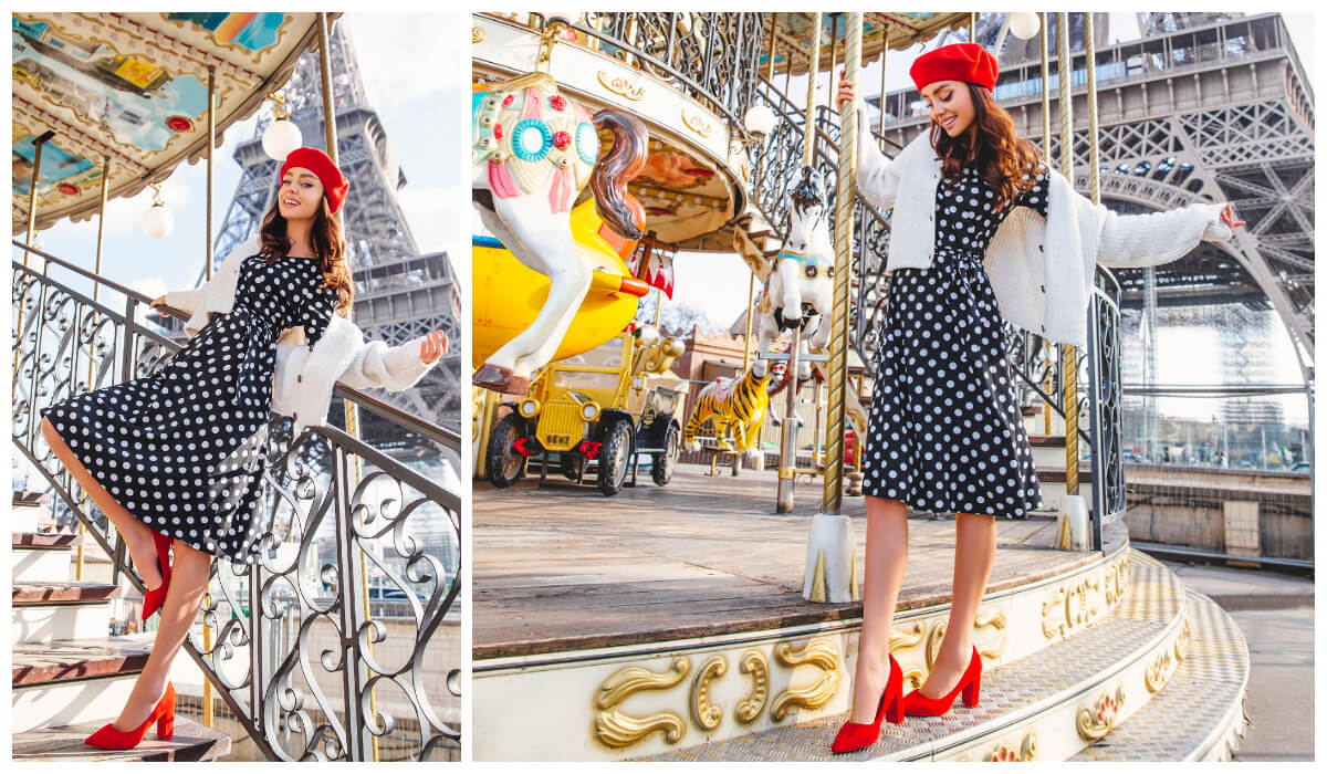 francuski styl w stylizacji z sukienką