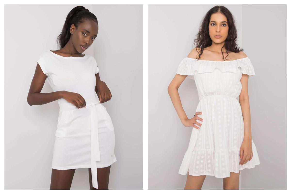 Biała sukienka mini z falbaną przy dekolcie
